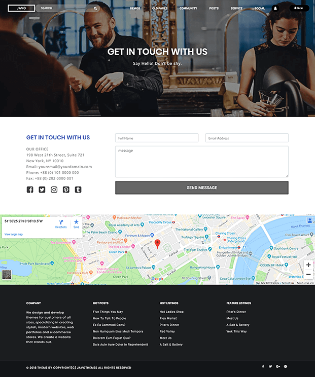 Contact - Listings WordPress Theme