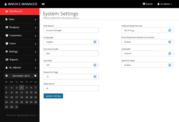 System Settings - Invoicing Script PHP