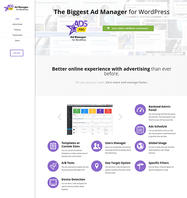 Home Page - WordPress Ad Manager Plugin