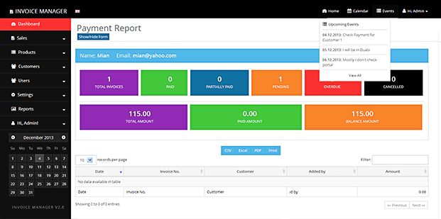 Payment Report - Invoicing Script PHP
