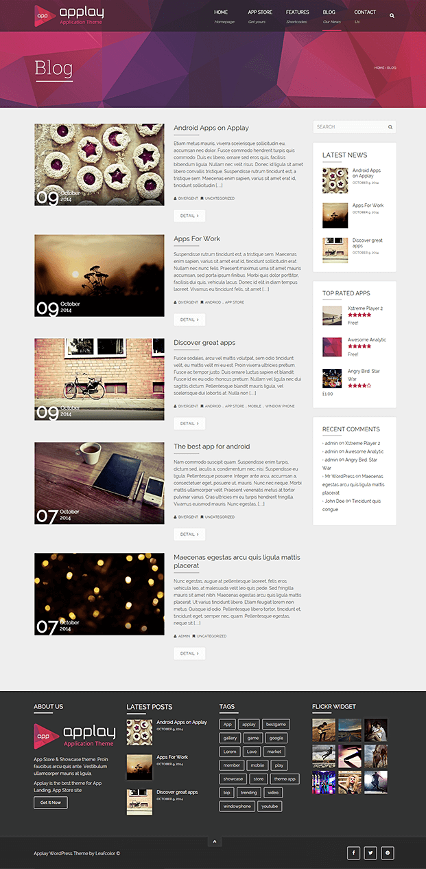 Blog -  App Store WordPress Theme
