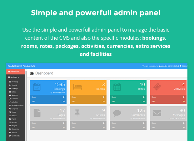Admin Panel - Hotel Booking CMS