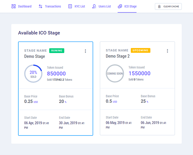 Investors Stage -  ICO Management Software