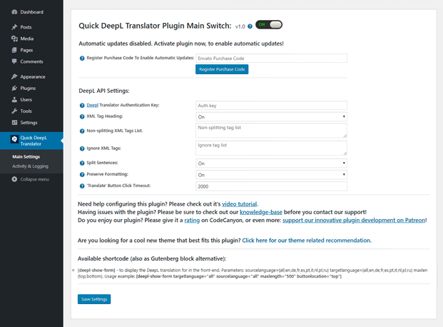 Main Settings -  Translator WP Plugin