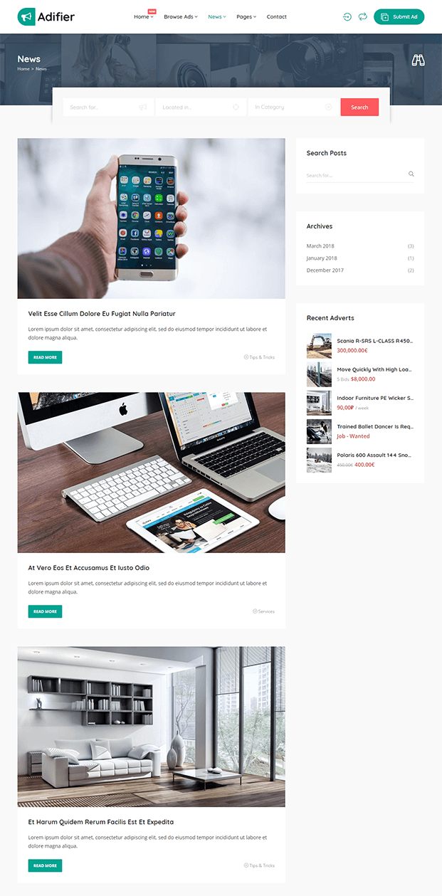 News - WordPress Classified Ad Theme