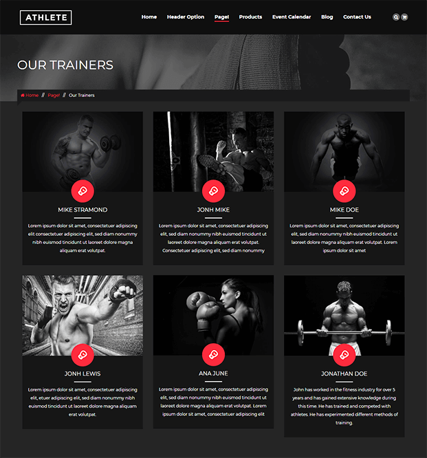 Our Classes - WordPress Theme For Fitness