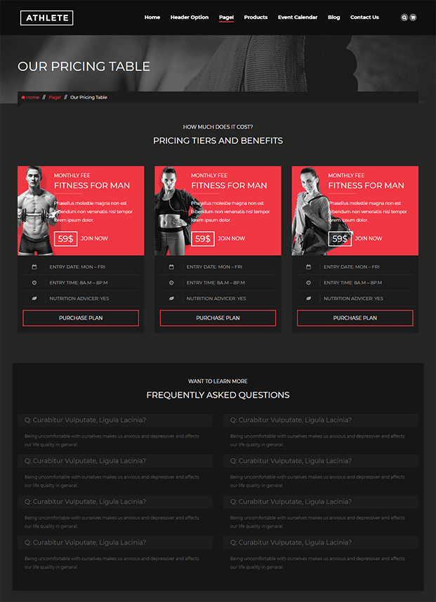 Pricing Table - WordPress Theme For Fitness