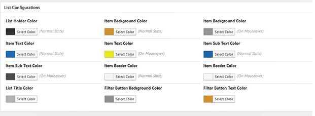 Backend Color Configuration - WordPress Geodirectory Plugin