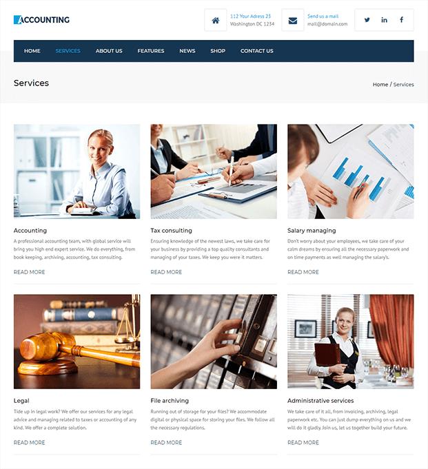 Services - Accountant WordPress Theme