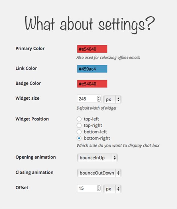 Settings - Live Chat WordPress Plugin