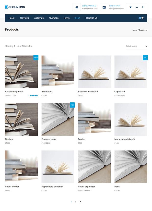 Shop - Accountant WordPress Theme