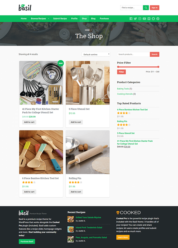 Shop - Recipe WordPress Theme