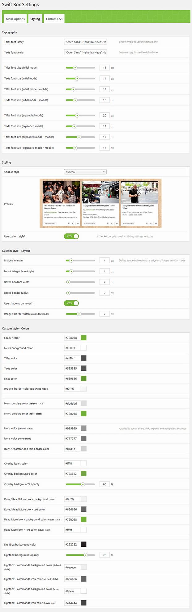 Styling - WordPress Content Slider Plugin