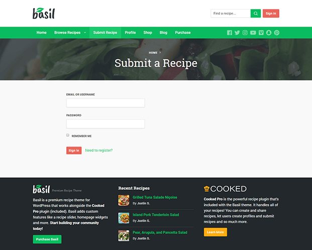 Submit Recipe - Recipe WordPress Theme