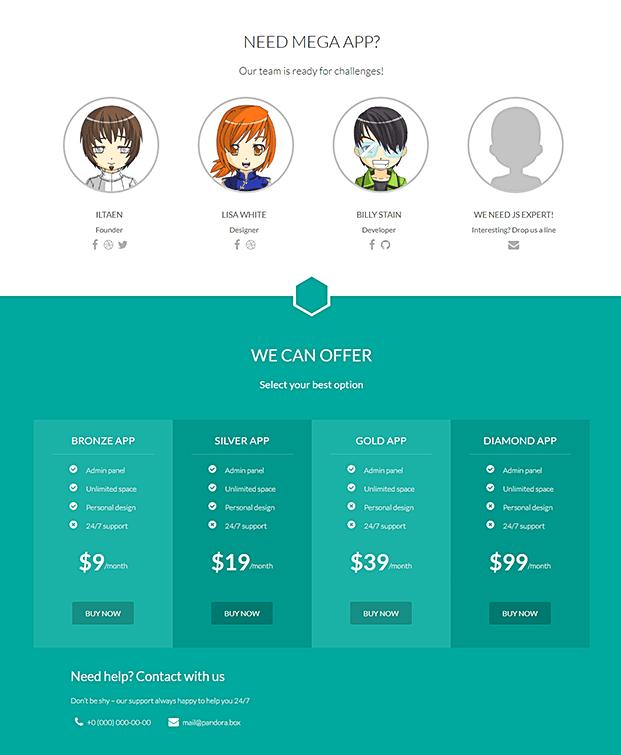 Team And Pricing - WordPress Single Page Theme