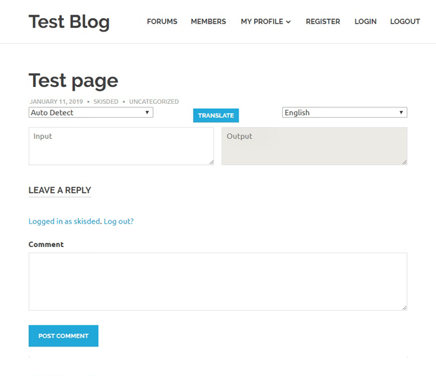 Test Page - Translator WP Plugin