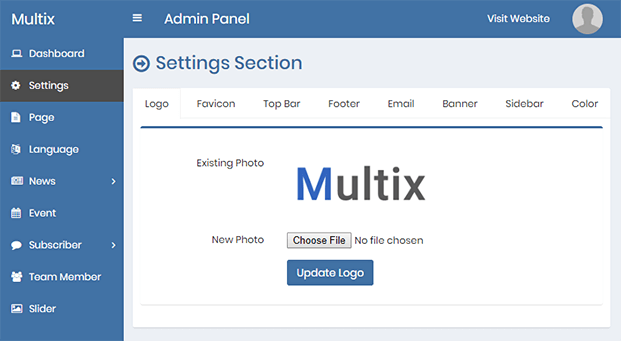 Settings - PHP Website CMS