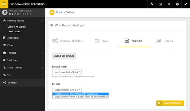 Settings - WooCommerce Reporting Plugin