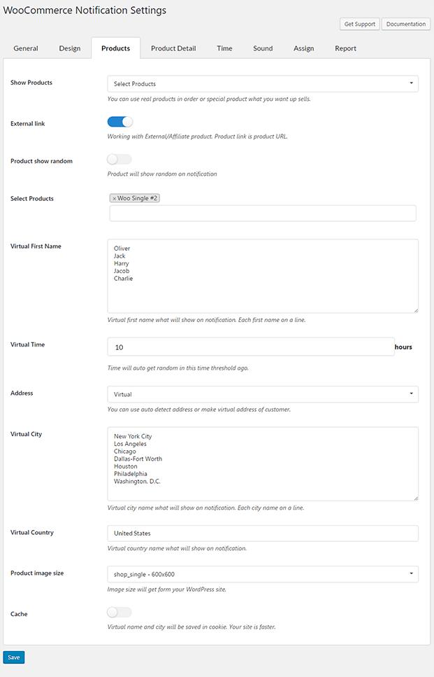 Backend Setting - WooCommerce Notification Plugin