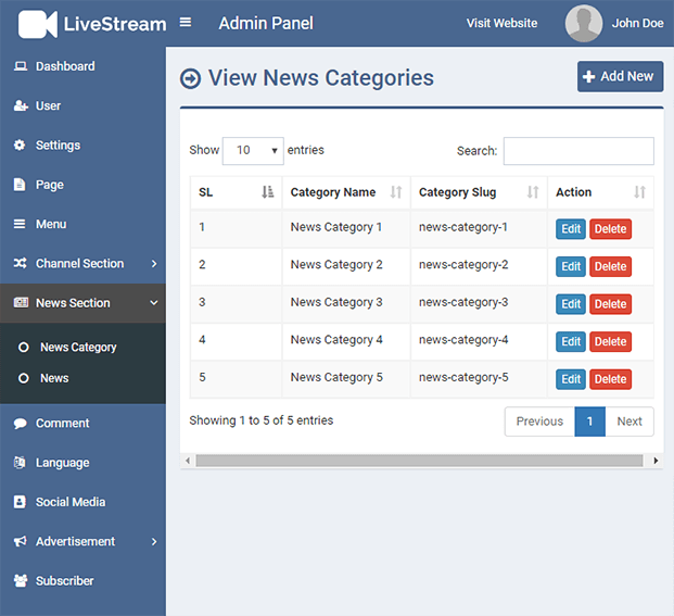 Category - Live Streaming PHP Script