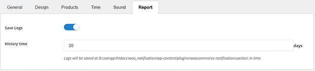 Report Option - WooCommerce Notification Plugin