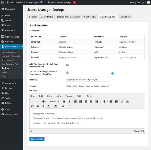 License Manager Settings- WordPress License Plugin
