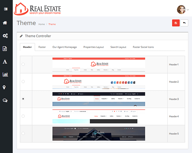 Themes -Real Estate Website PHP Script