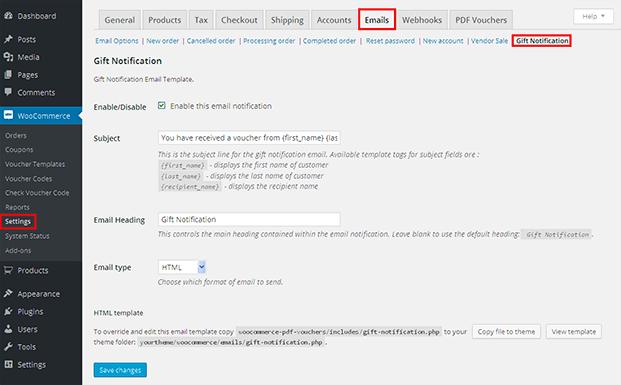Email Setting - WordPress Gift Voucher Plugin