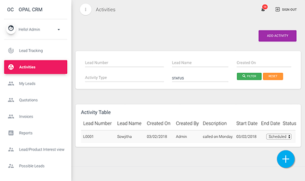 Activity Page -  Lead Management Software
