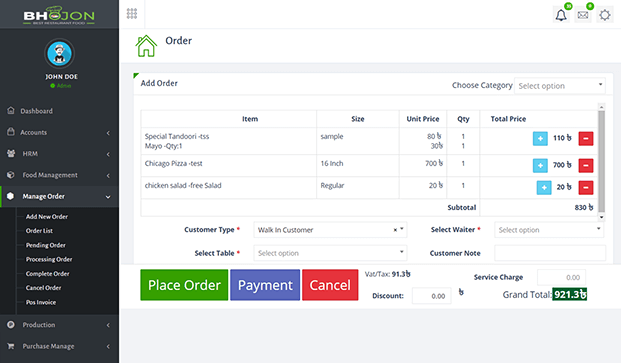 Place Order - Restaurant Management Software