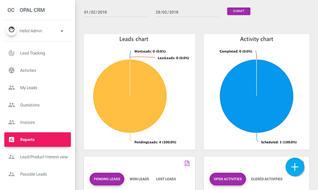 Report View -  Lead Management Software
