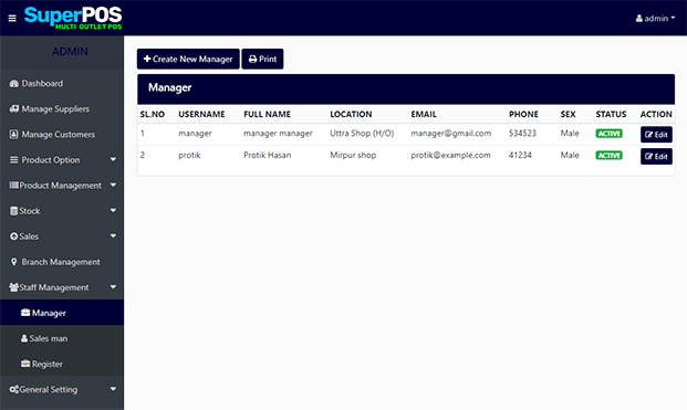 Manager - PHP Point Of Sale Script