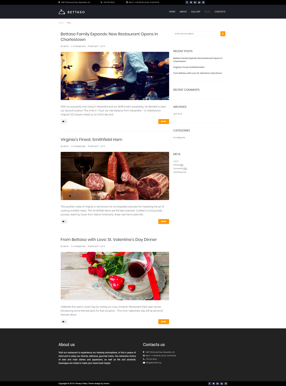 Blog - Best Restaurant Theme WordPress