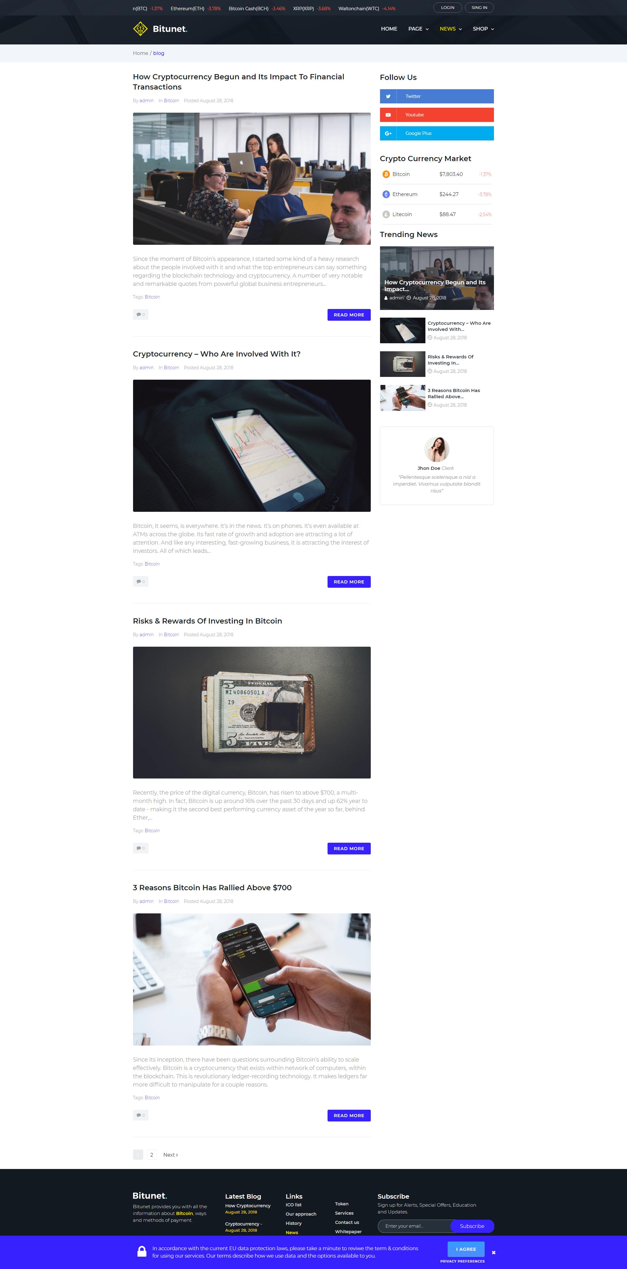 Blog - WordPress Cryptocurrency Elementor Theme