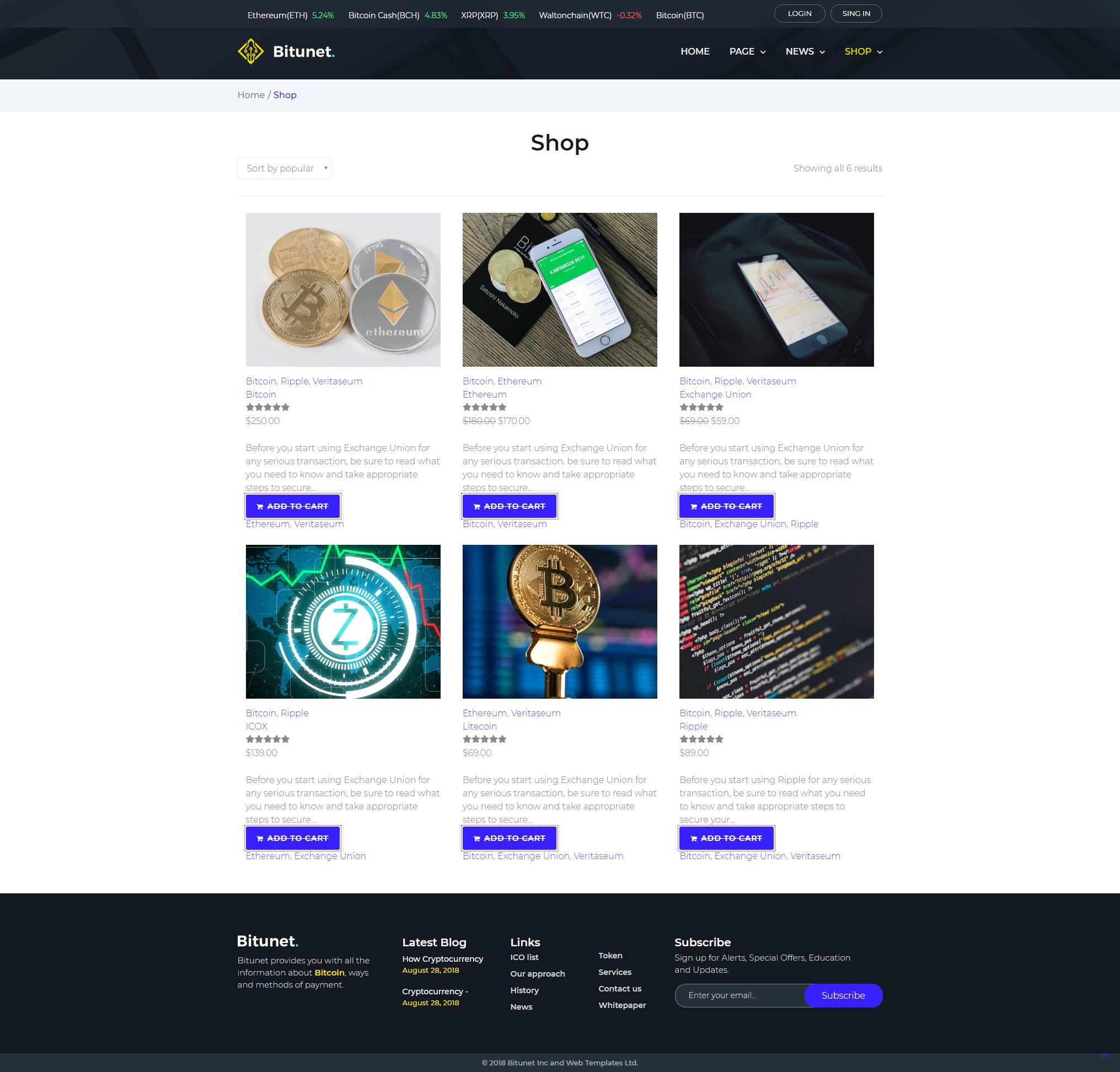 Shop - WordPress Cryptocurrency Elementor Theme