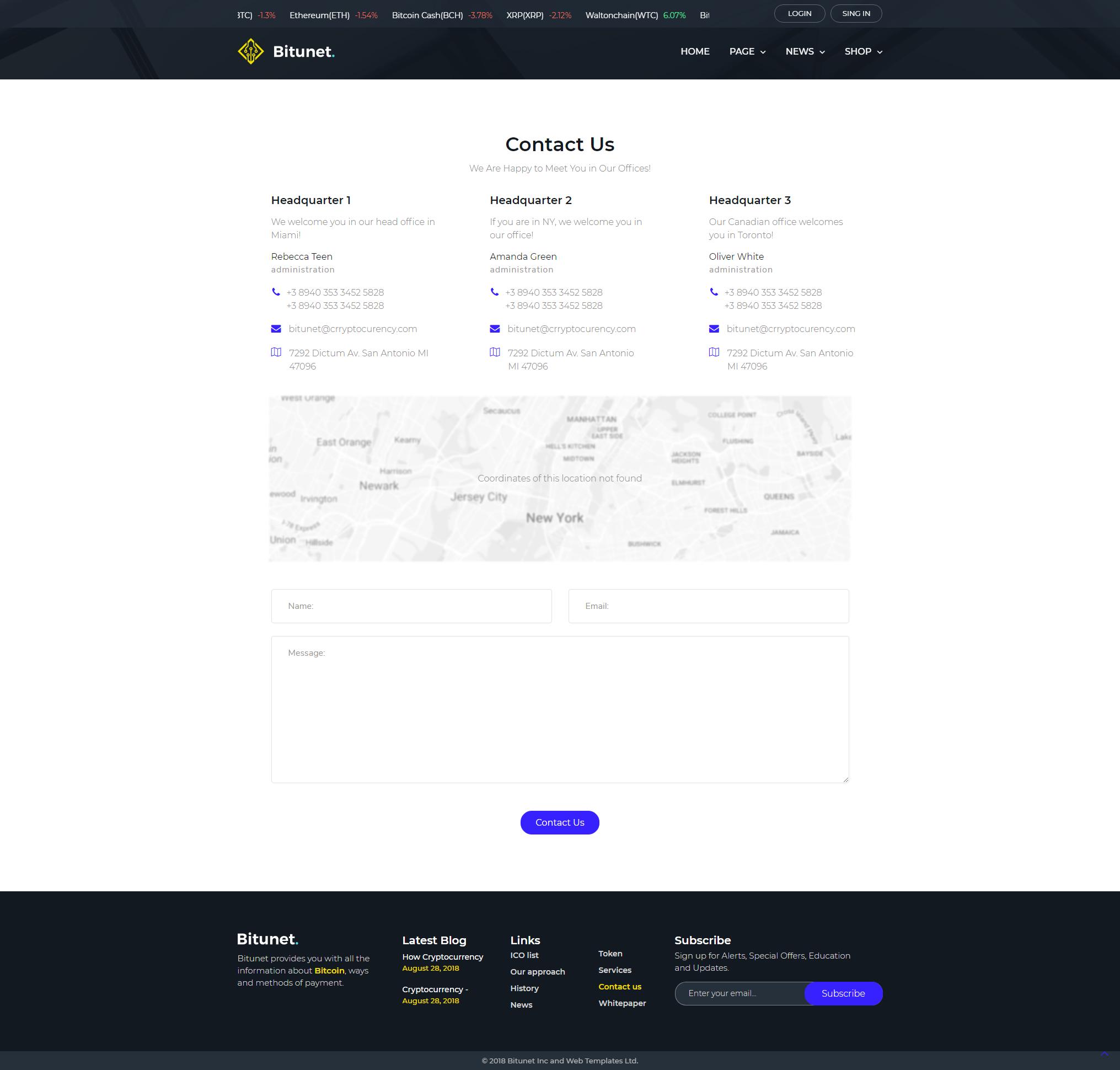 Contact - WordPress Cryptocurrency Elementor Theme