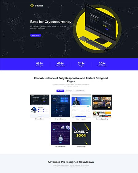 Bitunet - WordPress Cryptocurrency Elementor Theme