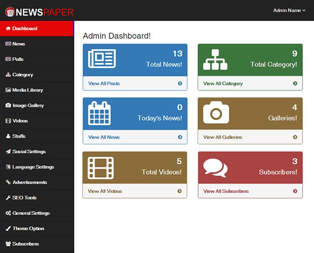 Dashboard - News CMS Script