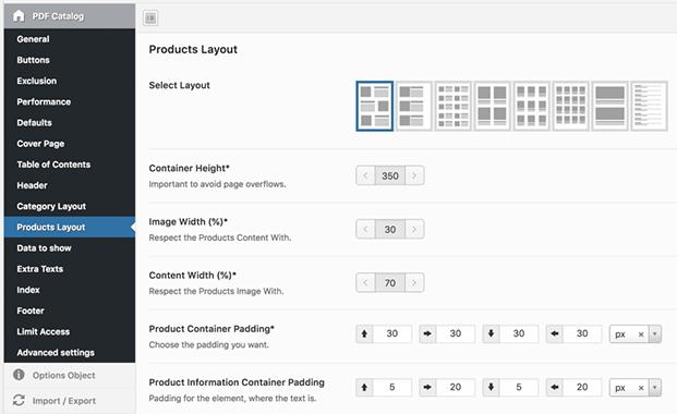 Layouts - WordPress PDF Catalog Plugin