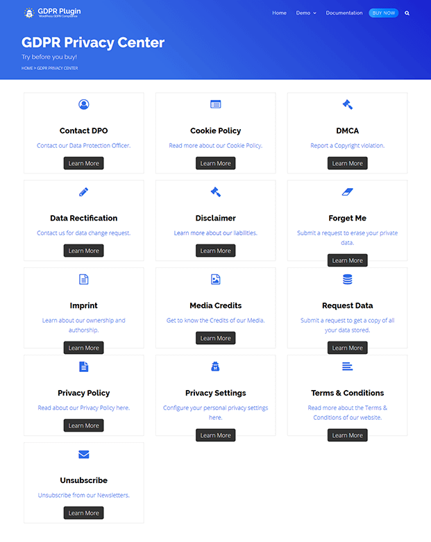Privacy Settings - WordPress GDPR Plugin