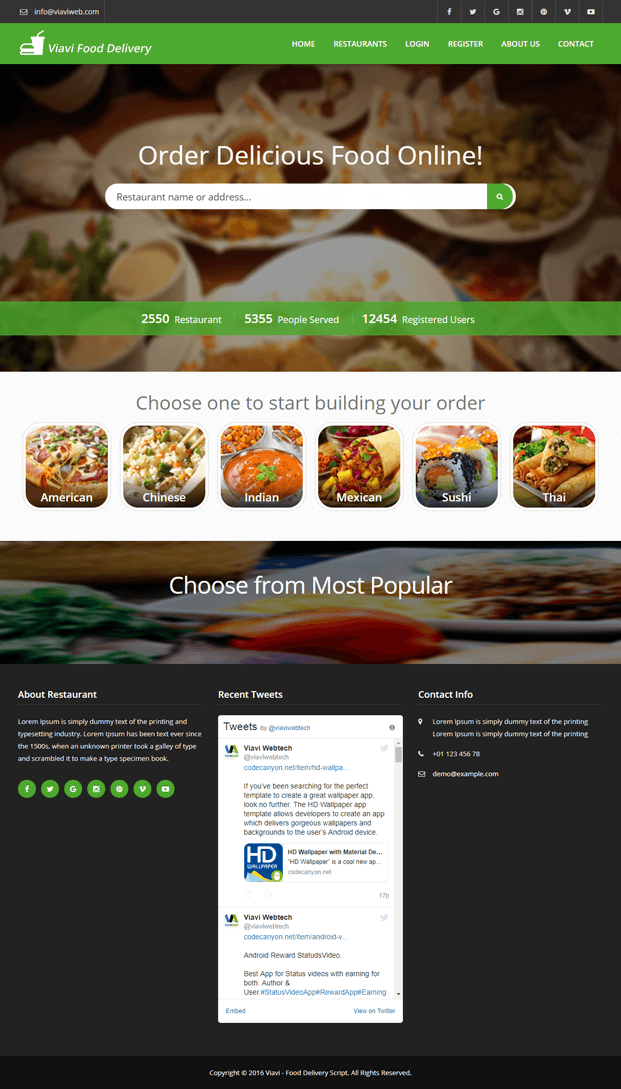 Home - PHP Food Delivery Script