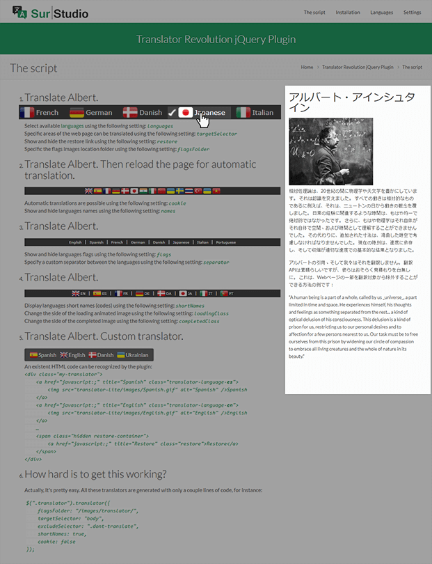 Japanese - Website Translator Script