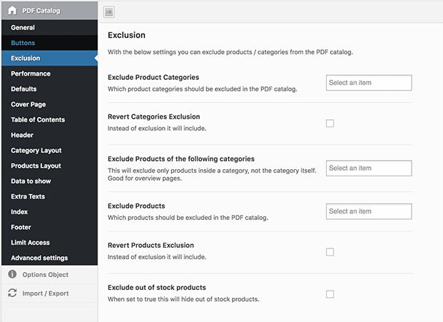 Exclusions - WordPress PDF Catalog Plugin
