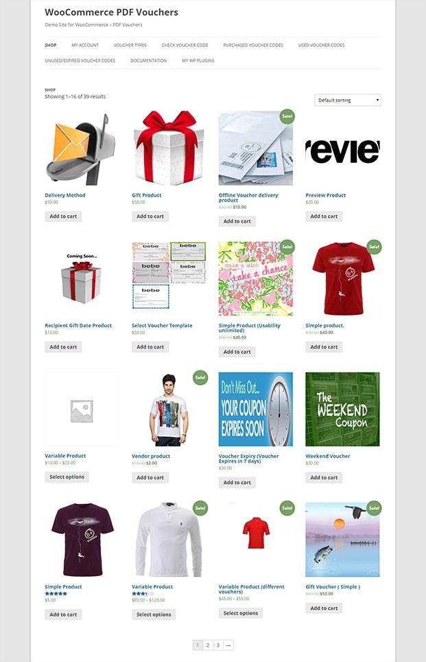Shop Page - WordPress Gift Voucher Plugin