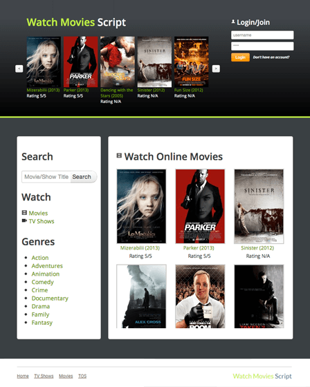 Movies Website Script