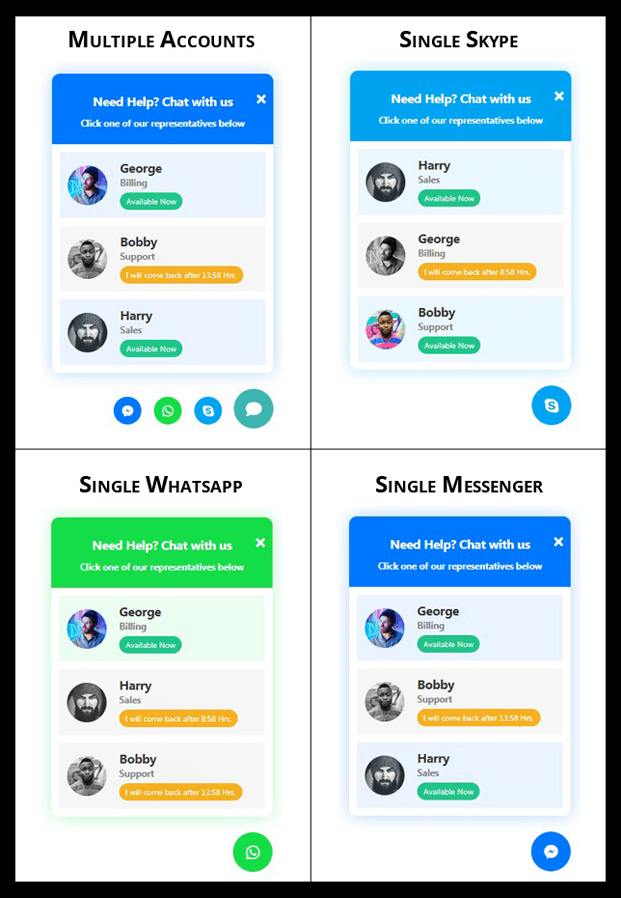 Accounts - WordPress Social Chat Support Plugin