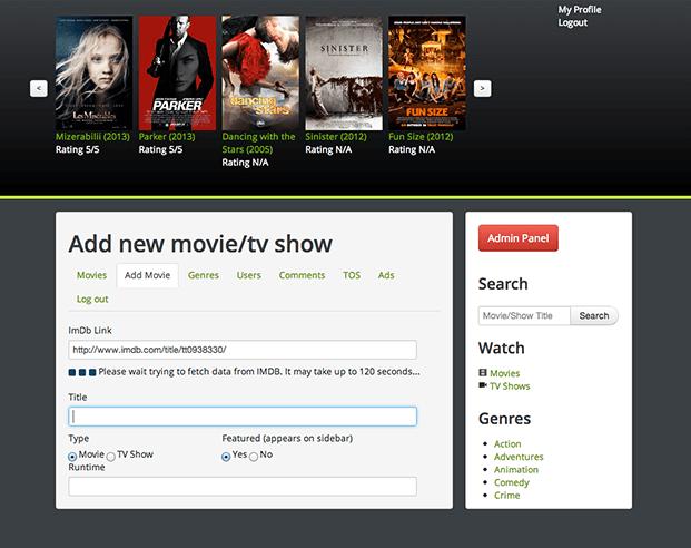 Add Movies - Movies Website Script