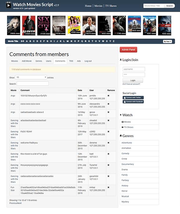 Comments - Movies Website Script