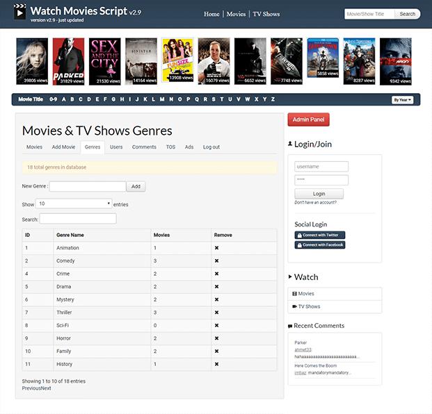 Genres - Movies Website Script