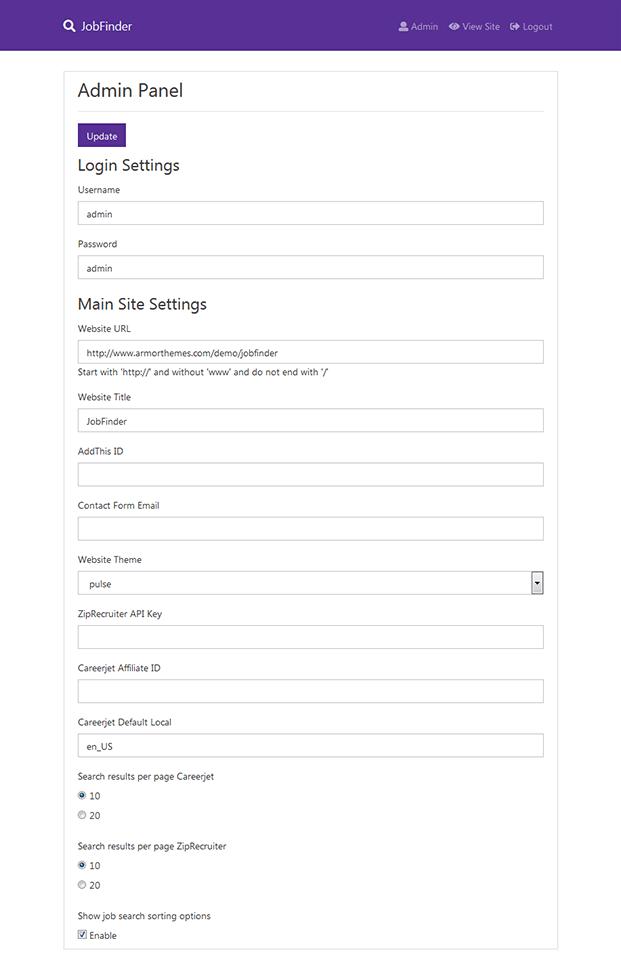 Admin Settings -Job Portal Script